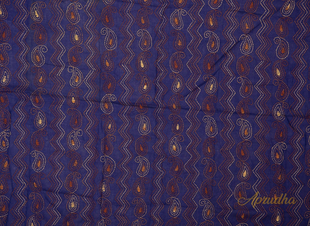 Blue Paisley Kantha Embroidered Blouse Piece