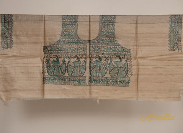 Timeless Art - Beige Tussar Silk Madhubani Handpainted Blouse Piece