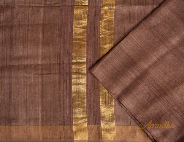 Twany Brown Kosa Silk Saree