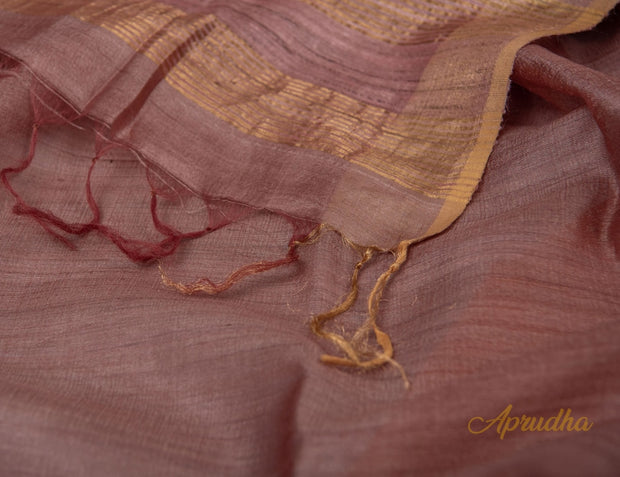 Copper Brown Kosa Silk Saree