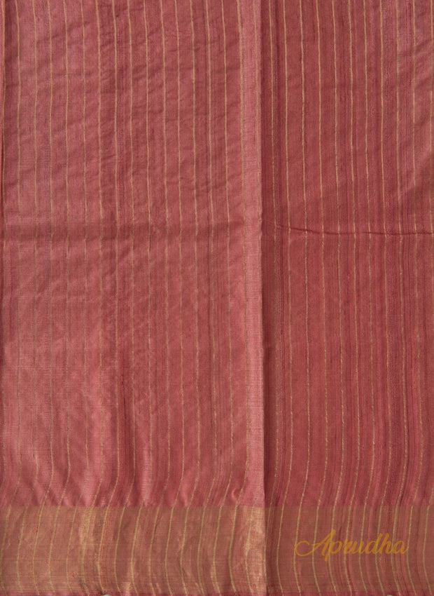 Blush Red Kosa Silk Saree