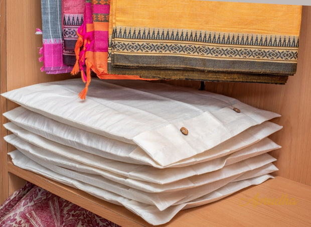 Premium Pure Cotton Saree Bags 44 X 38 cm for a pack of 6 - Aprudha