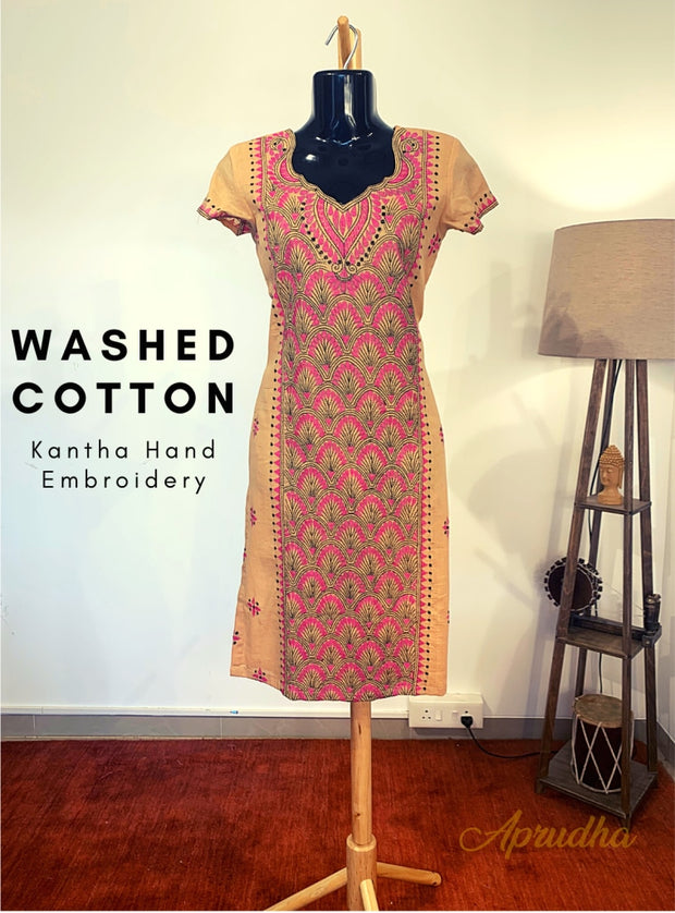 Cotton Kurti With Pink  Embroidery Motif