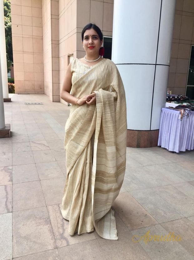 Organic Silk Saree In Beige (Office Wear Saree)
