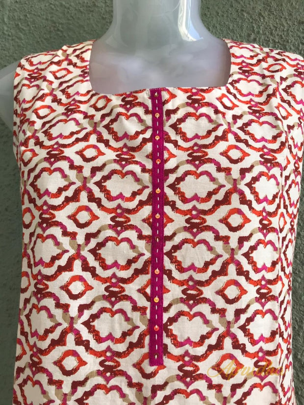 Cotton Kurti With Red Prints