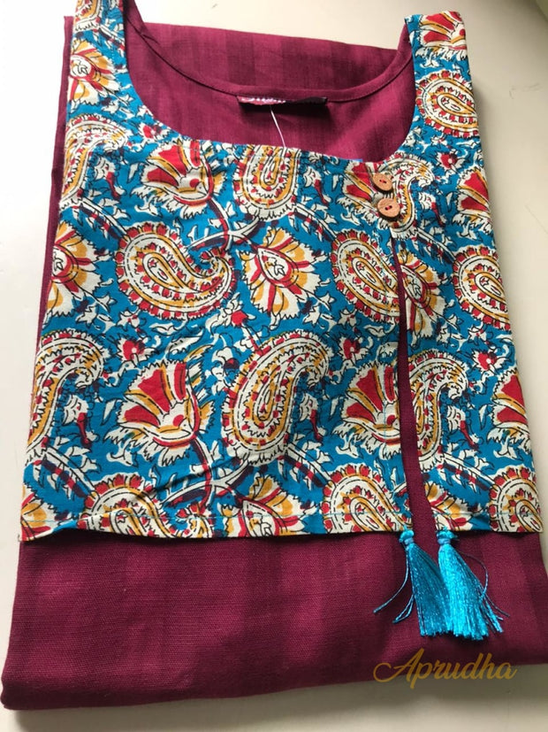 Cotton Kurti With Attached Jacket
