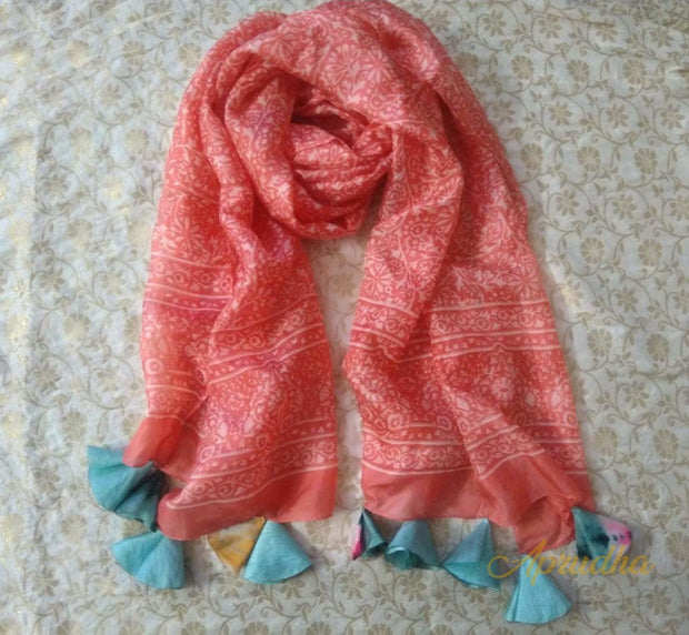 Carrot Red Silk Scarf With Blue Tassels
