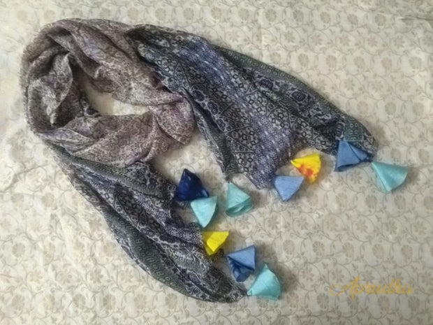 Grey Silk Scarf With Tassels