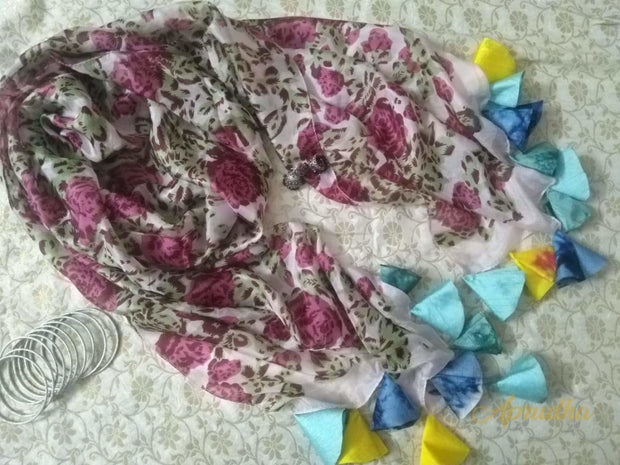 Rose On Silk Scarf With Tassels