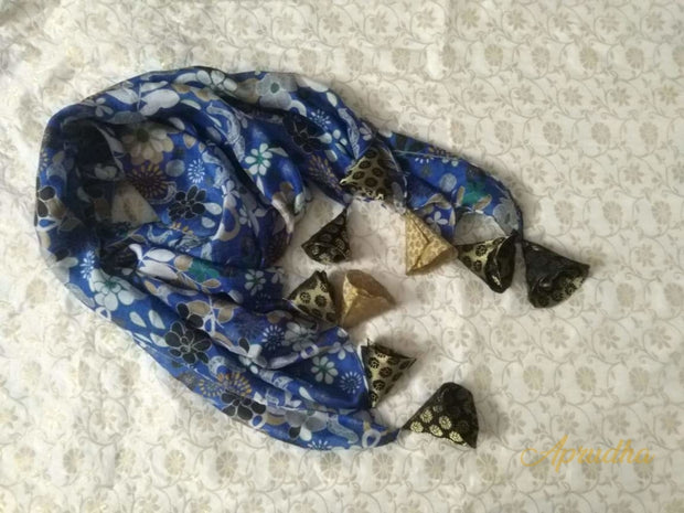 Peacock Blue Silk Scarf With Tassels