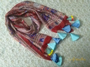 Hibiscus Red Silk Scarf With Tassels