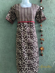 Cotton Kurti In Greyish Brown Shade