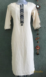 Cotton Kurti In Smart Black And White Combination