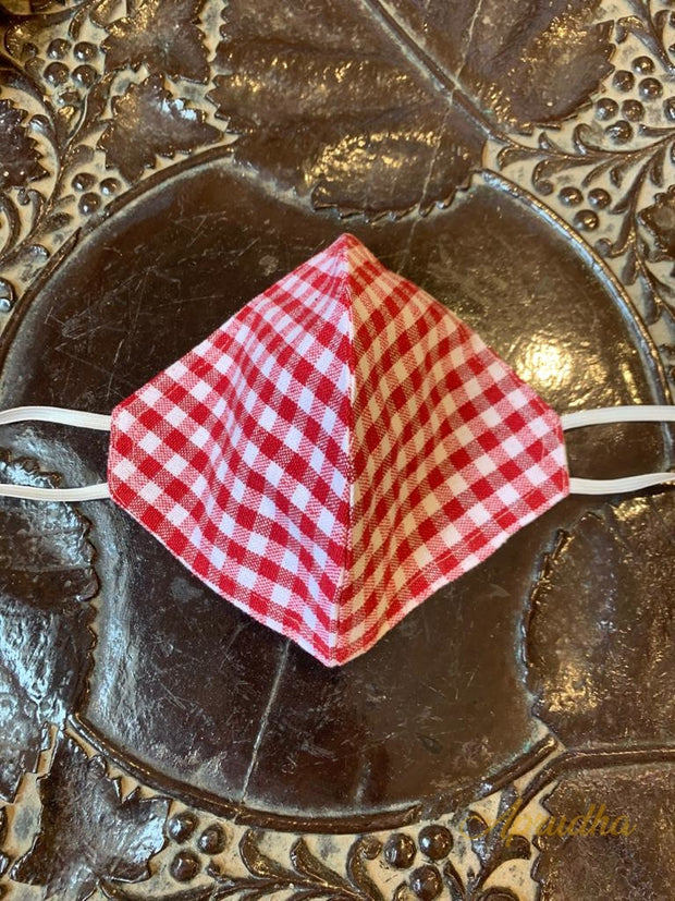 Set Of Five Non Surgical Checkered Mask