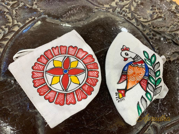 Set Of Two Non Surgical Pure Khadi Madhubani Handpainted Mask