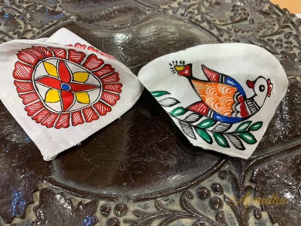 Set Of Two Non Surgical Pure Cotton Madhubani Handpainted Mask - Aprudha