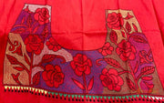 Gulaab - Red Kantha Blouse Piece