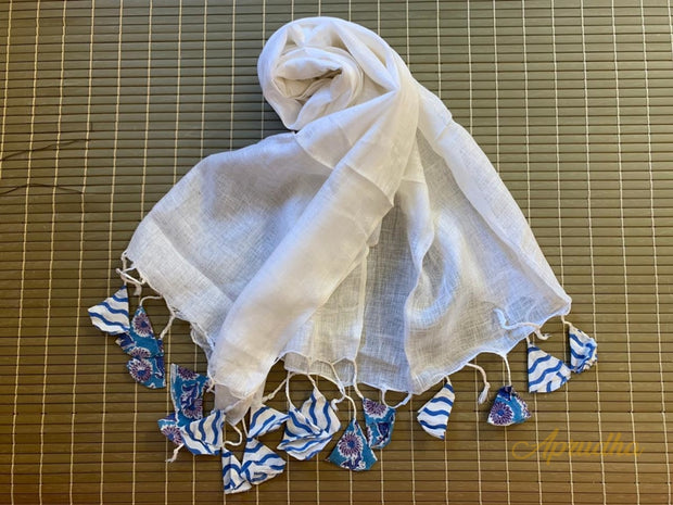 White Linen Stole With Printed Handmade Tassels