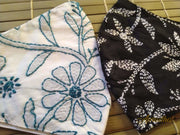 Set Of Two Non Surgical Pure Cotton Lucknowi Mask In White & Black Colour