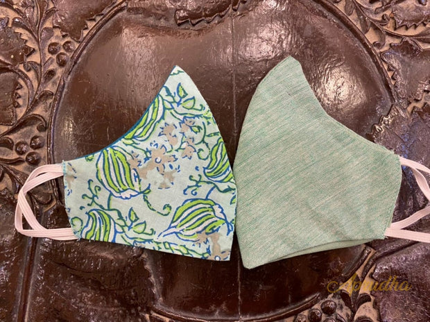 Plain Green & Printed - Set Of Two Non Surgical Cotton Madhubani Hand-Painted Mask