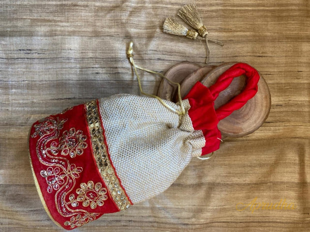 Ethnic Potli - Beige & Red Potli Bag - Aprudha