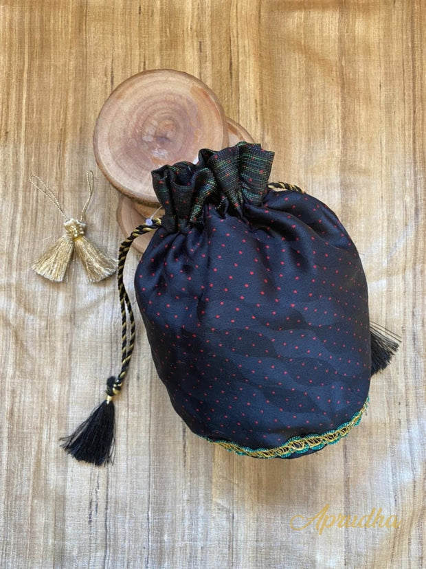Mini Polka - Black Potli Bag - Aprudha