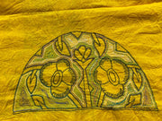 Yellow Floral Kantha Embroidered Blouse Piece - Aprudha