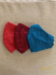 Blue, Red & Maroon - Set Of Three Non Surgical Pure Cotton Mask - Aprudha