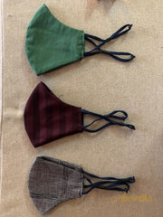 Green, Grey & Maroon - Set Of Three Non Surgical Pure Cotton Mask - Aprudha