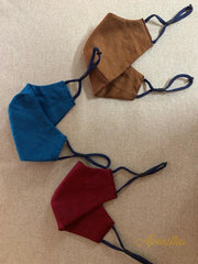 Blue, Maroon & Brown - Set Of Three Non Surgical Pure Cotton Mask - Aprudha