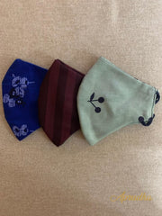 Maroon, Green & Blue - Set Of Three Non Surgical Pure Cotton Mask - Aprudha