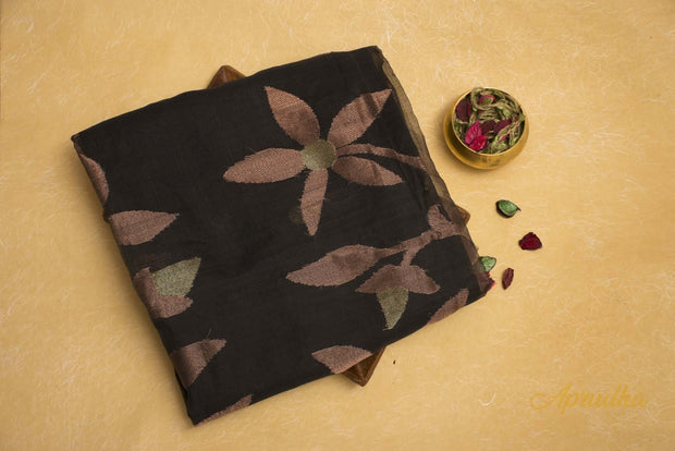 Black Muslin Silk Saree With Copper Zari - Aprudha