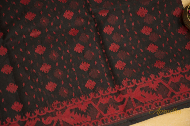 Black & Red Pure Cotton Jamdani Saree - Aprudha