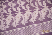 Mauve Pure Cotton Jamdani Saree - Aprudha