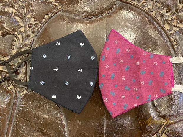 Set Of Two Non Surgical Cotton Mask - Pink & Black Masks