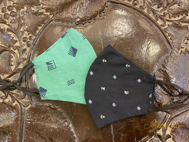 Set Of Two Non Surgical Cotton Mask - Black & Green Masks - Aprudha