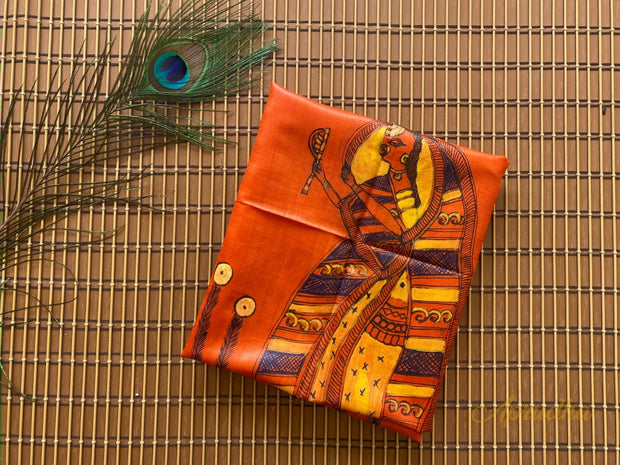 Raani - Orange Madhubani Hand-Painted Tussar Silk Blouse Piece - Aprudha
