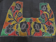 Black Vibrant Floral Kantha Embroidered Blouse Piece - Aprudha