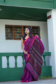 Raspberry Radiance - Magenta Pure Cotton Saree