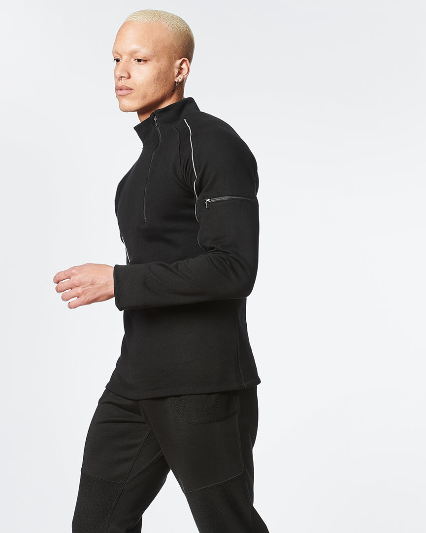 Black Long Sleeve Zipper Pullover for Men