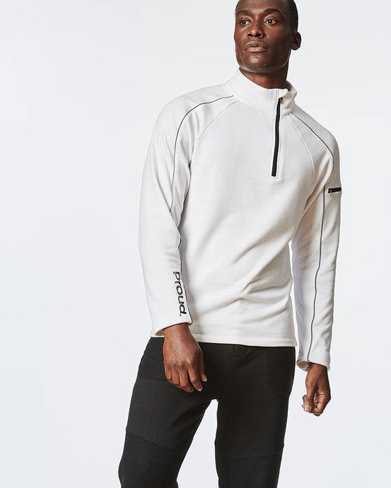 White Long Sleeve Zipper Pullover for Men