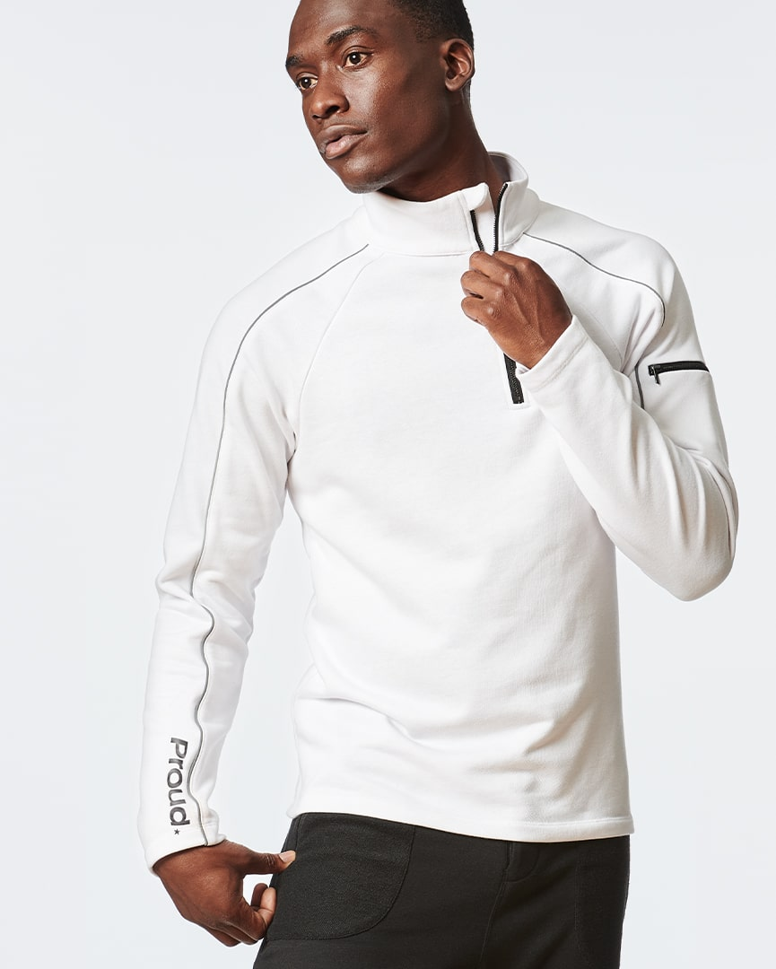 Load image into Gallery viewer, White Long Sleeve Zipper Pullover for Men