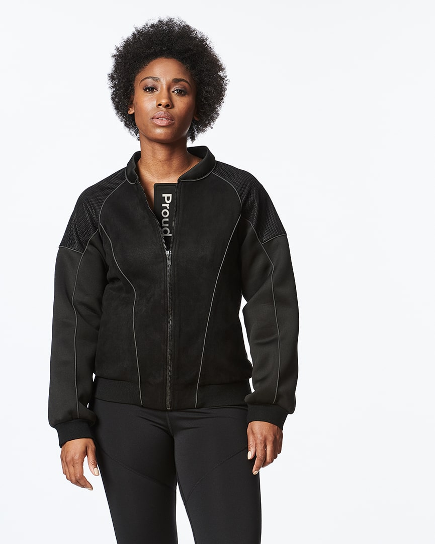 Load image into Gallery viewer, Black Bomber Jacket for Women