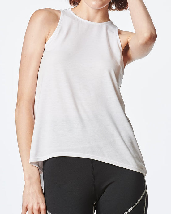 Athleisure White Split Back Tank for Women