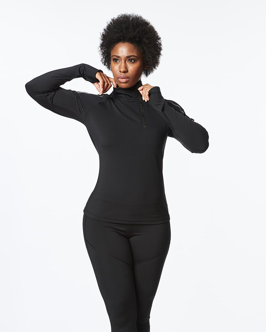 high-performance zipper pullover for women