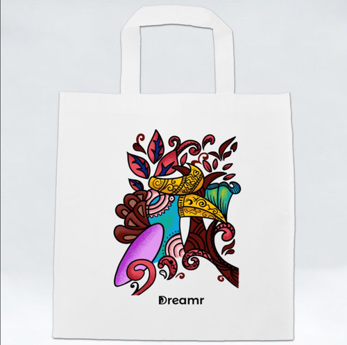 Non Woven Bag - Hornbill by Revalina - White - Square