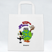 Load image into Gallery viewer, Non Woven Bag - Save the Wildlife by Valerent - White - Square