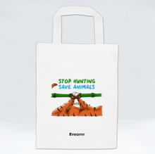 Load image into Gallery viewer, Non Woven Bag - Stop Hunting Tiger by Rihanna - White - Square