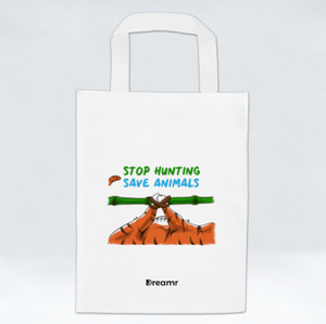 Non Woven Bag - Stop Hunting Tiger by Rihanna - White - Square