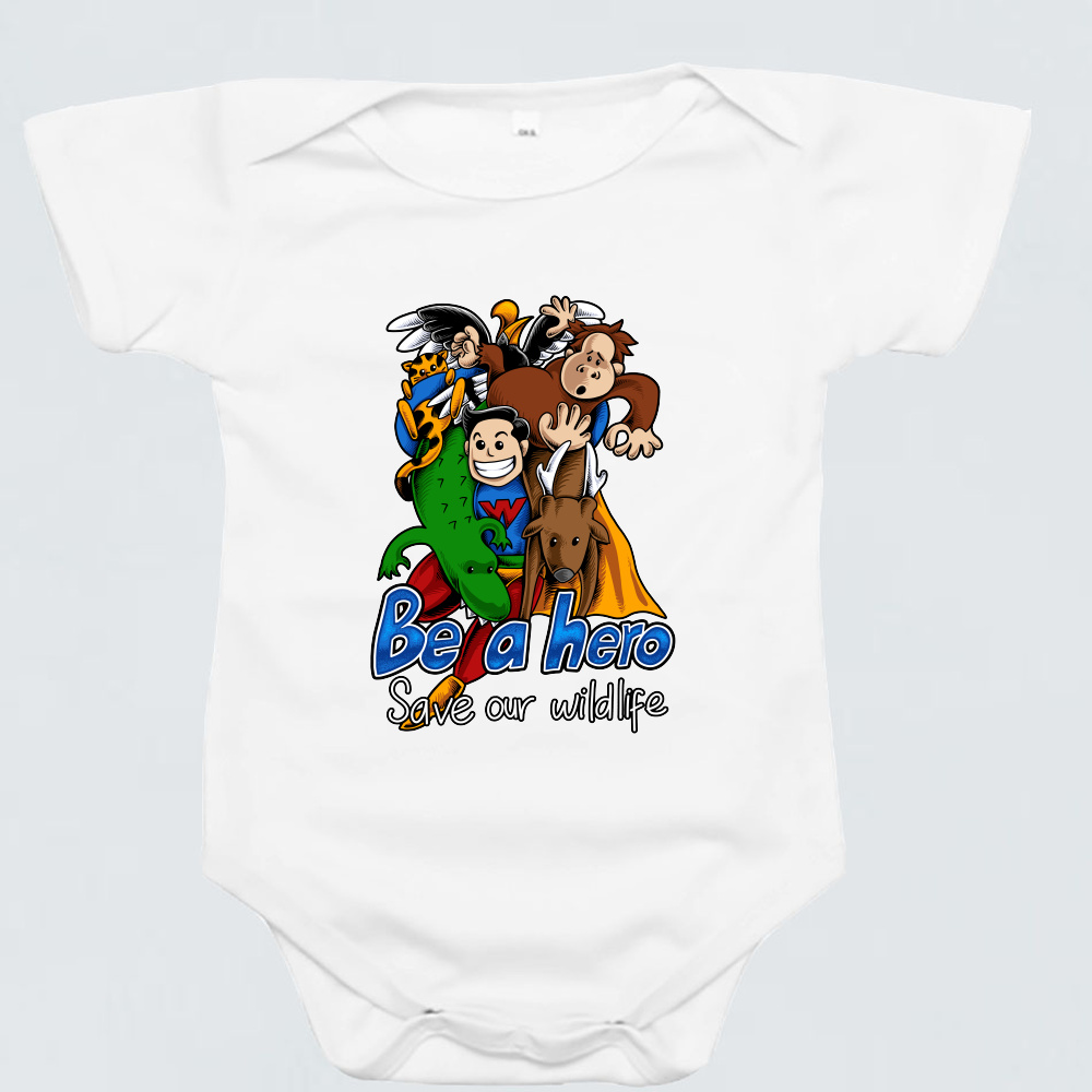 Baby Romper - Wildlife Hero by Reynold - White - Short Sleeve